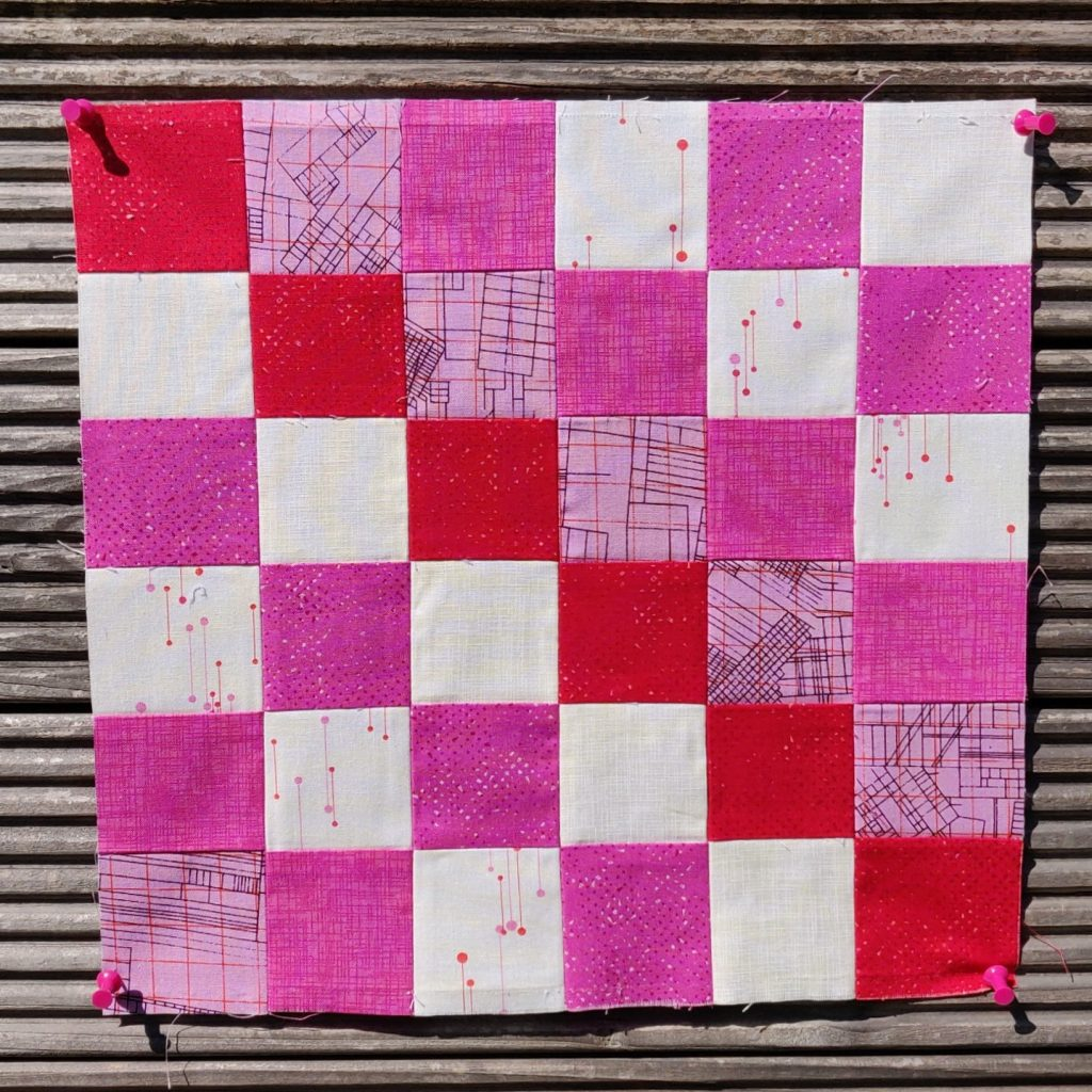 scrappy block in pink